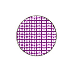 Purple And White Leaf Pattern Golf Ball Marker 4 Pack (for Hat Clip) by creativemom