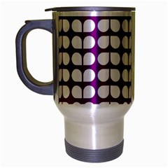 Purple And White Leaf Pattern Travel Mug (silver Gray) by creativemom