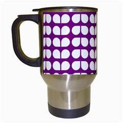 Purple And White Leaf Pattern Travel Mug (white) by creativemom