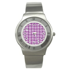 Purple And White Leaf Pattern Stainless Steel Watch (slim) by creativemom