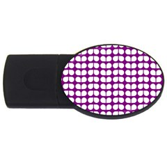 Purple And White Leaf Pattern 4gb Usb Flash Drive (oval) by creativemom