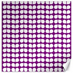 Purple And White Leaf Pattern Canvas 12  X 12  (unframed) by creativemom