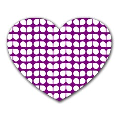 Purple And White Leaf Pattern Mouse Pad (heart) by creativemom