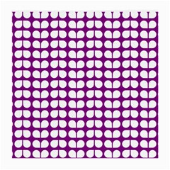 Purple And White Leaf Pattern Glasses Cloth (medium, Two Sided) by creativemom