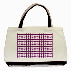 Purple And White Leaf Pattern Twin Sided Black Tote Bag by creativemom
