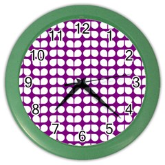 Purple And White Leaf Pattern Wall Clock (color) by creativemom