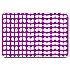 Purple And White Leaf Pattern Large Door Mat by creativemom