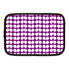 Purple And White Leaf Pattern Netbook Sleeve (medium) by creativemom