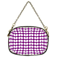 Purple And White Leaf Pattern Chain Purse (one Side)
