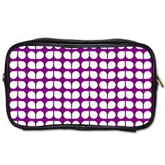 Purple And White Leaf Pattern Travel Toiletry Bag (two Sides) by creativemom