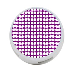 Purple And White Leaf Pattern 4 Port Usb Hub (one Side) by creativemom