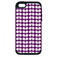 Purple And White Leaf Pattern Apple Iphone 5 Hardshell Case (pc+silicone) by creativemom