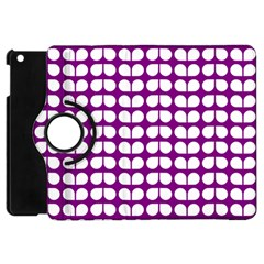 Purple And White Leaf Pattern Apple Ipad Mini Flip 360 Case by creativemom