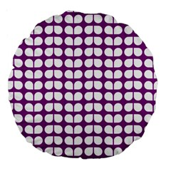 Purple And White Leaf Pattern 18  Premium Round Cushion  by creativemom