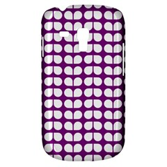 Purple And White Leaf Pattern Samsung Galaxy S3 Mini I8190 Hardshell Case by creativemom
