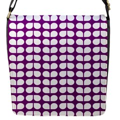 Purple And White Leaf Pattern Flap Closure Messenger Bag (small) by creativemom
