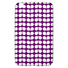 Purple And White Leaf Pattern Samsung Galaxy Tab 3 (8 ) T3100 Hardshell Case  by creativemom