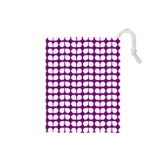 Purple And White Leaf Pattern Drawstring Pouch (small) by creativemom