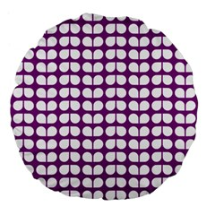 Purple And White Leaf Pattern 18  Premium Flano Round Cushion  by creativemom