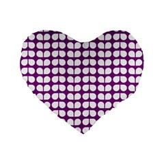 Purple And White Leaf Pattern 16  Premium Flano Heart Shape Cushion  by creativemom