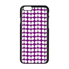Purple And White Leaf Pattern Apple Iphone 6 Black Enamel Case by creativemom