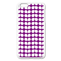 Purple And White Leaf Pattern Apple iPhone 6 Plus Enamel White Case