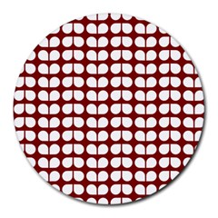 Red And White Leaf Pattern 8  Mouse Pad (round) by creativemom