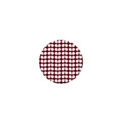 Red And White Leaf Pattern 1  Mini Button Magnet by creativemom