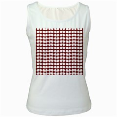 Red And White Leaf Pattern Women s Tank Top (white) by creativemom