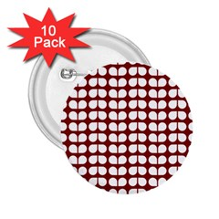 Red And White Leaf Pattern 2 25  Button (10 Pack) by creativemom