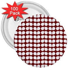 Red And White Leaf Pattern 3  Button (100 Pack) by creativemom