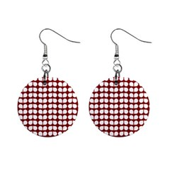 Red And White Leaf Pattern Mini Button Earrings by creativemom