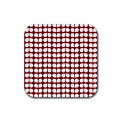 Red And White Leaf Pattern Drink Coasters 4 Pack (square) by creativemom