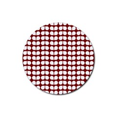 Red And White Leaf Pattern Drink Coasters 4 Pack (round) by creativemom
