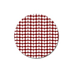 Red And White Leaf Pattern Magnet 3  (round) by creativemom