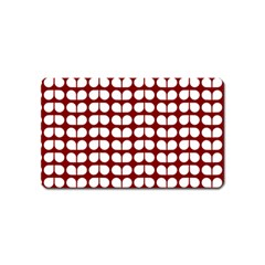 Red And White Leaf Pattern Magnet (name Card) by creativemom