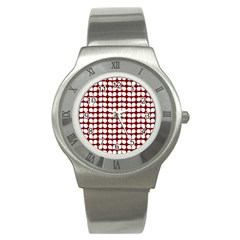 Red And White Leaf Pattern Stainless Steel Watch (slim) by creativemom