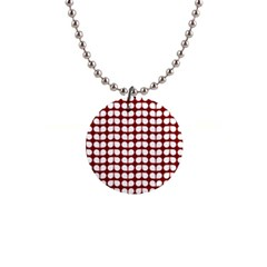Red And White Leaf Pattern Button Necklace by creativemom