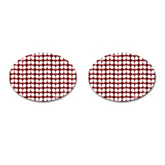 Red And White Leaf Pattern Cufflinks (oval) by creativemom