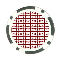 Red And White Leaf Pattern Poker Chip by creativemom