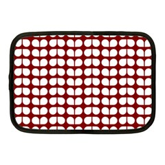 Red And White Leaf Pattern Netbook Sleeve (medium) by creativemom