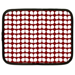 Red And White Leaf Pattern Netbook Sleeve (large) by creativemom