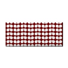 Red And White Leaf Pattern Hand Towel by creativemom