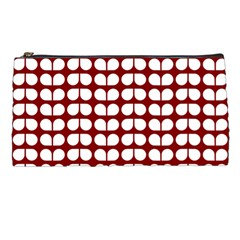 Red And White Leaf Pattern Pencil Case by creativemom