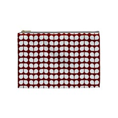 Red And White Leaf Pattern Cosmetic Bag (medium) by creativemom