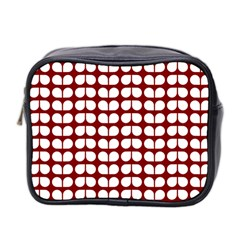 Red And White Leaf Pattern Mini Travel Toiletry Bag (two Sides) by creativemom