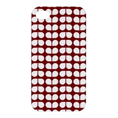 Red And White Leaf Pattern Apple Iphone 4/4s Hardshell Case by creativemom