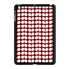 Red And White Leaf Pattern Apple iPad Mini Case (Black) by creativemom