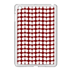 Red And White Leaf Pattern Apple Ipad Mini Case (white) by creativemom