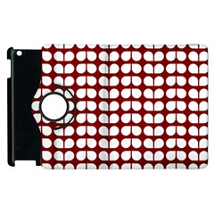 Red And White Leaf Pattern Apple Ipad 3/4 Flip 360 Case by creativemom